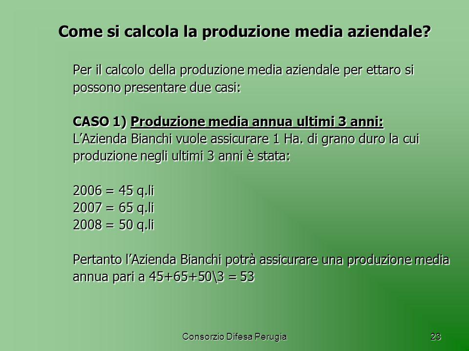 Consorzio Difesa Perugia23 Come si calcola la produzione media aziendale? Per il calcolo della produzione media aziendale per ettaro si possono presen