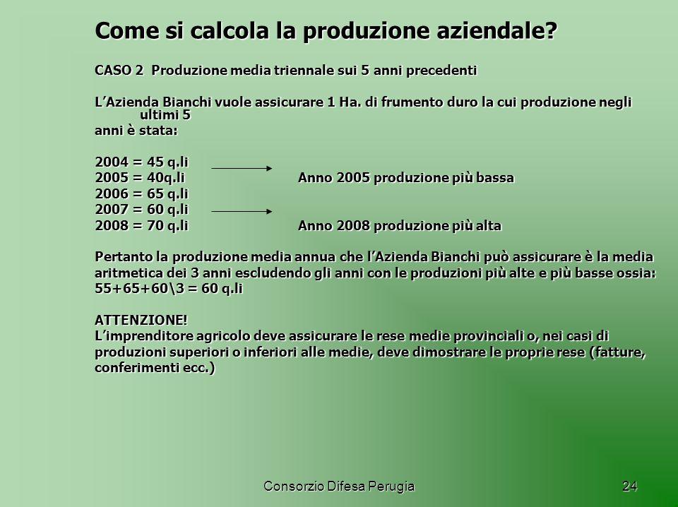 Consorzio Difesa Perugia24 Come si calcola la produzione aziendale? CASO 2 Produzione media triennale sui 5 anni precedenti LAzienda Bianchi vuole ass