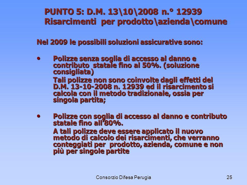 Consorzio Difesa Perugia25 PUNTO 5: D.M. 13\10\2008 n.° 12939 Risarcimenti per prodotto\azienda\comune Nel 2009 le possibili soluzioni assicurative so