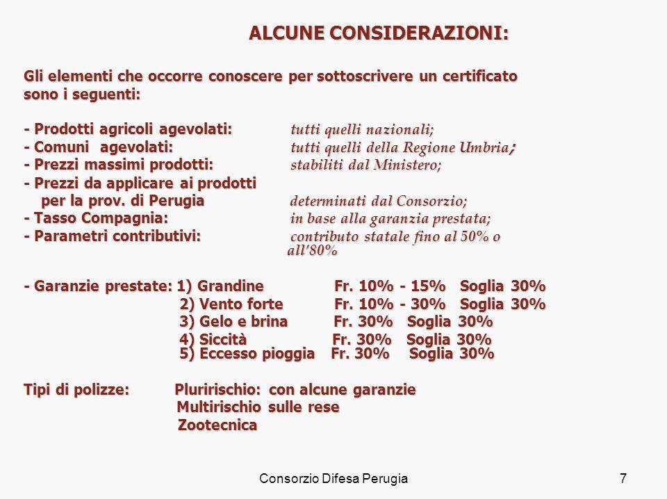 Consorzio Difesa Perugia7 ALCUNE CONSIDERAZIONI: Gli elementi che occorre conoscere per sottoscrivere un certificato sono i seguenti: - Prodotti agric