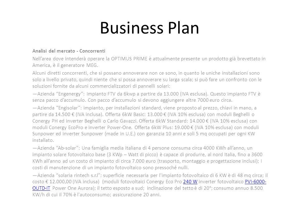 Business Plan Analisi del mercato - Concorrenti Nellarea dove intenderà operare la OPTIMUS PRIME è attualmente presente un prodotto già brevettato in