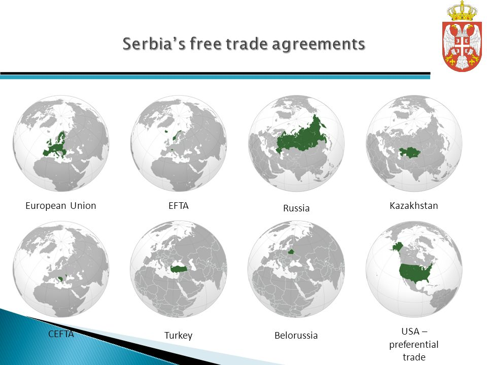 European UnionEFTA CEFTA TurkeyBelorussia Russia Kazakhstan USA – preferential trade