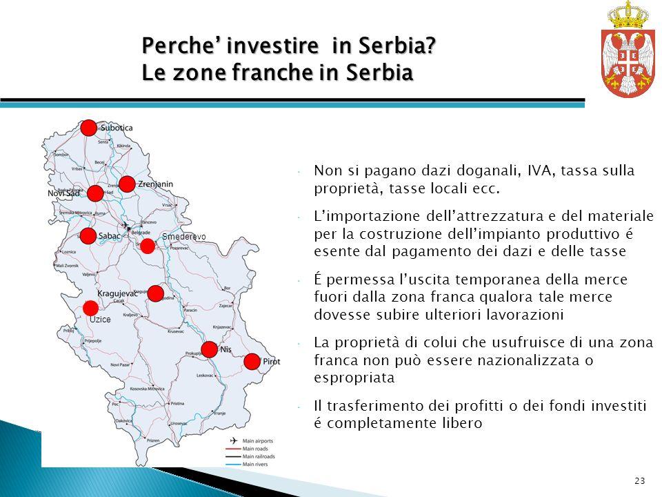 Free Zones in Serbia Non si pagano dazi doganali, IVA, tassa sulla proprietà, tasse locali ecc.