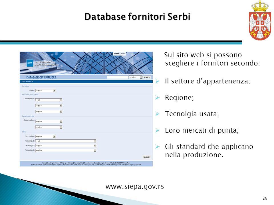 Sul sito web si possono scegliere i fornitori secondo: Il settore dappartenenza; Regione; Tecnolgia usata; Loro mercati di punta; Gli standard che applicano nella produzione.