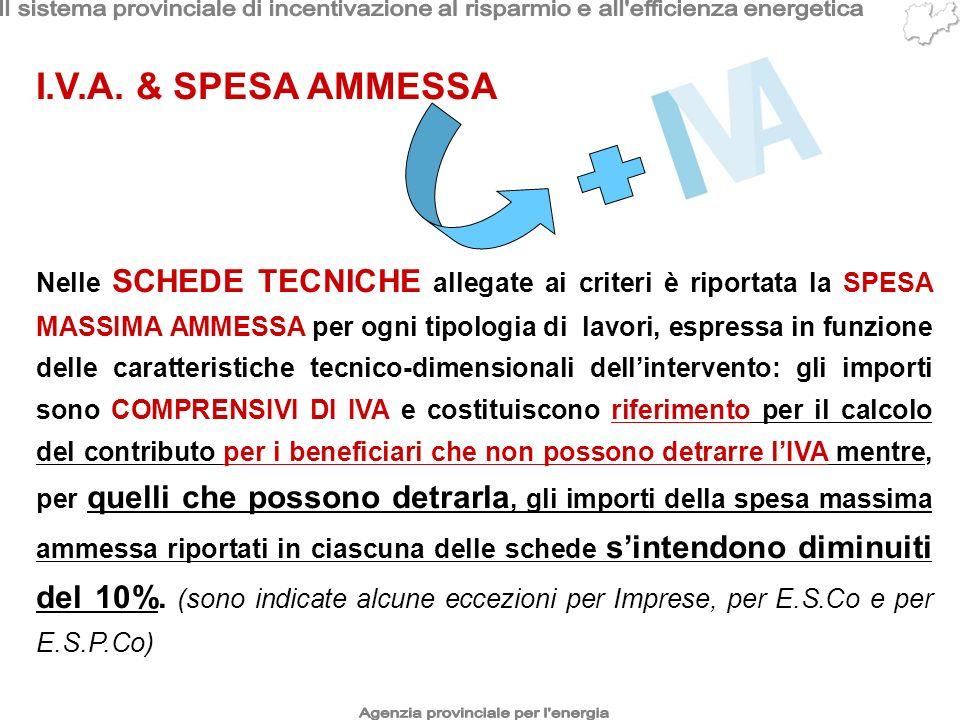 I.V.A. & SPESA AMMESSA Nelle SCHEDE TECNICHE allegate ai criteri è riportata la SPESA MASSIMA AMMESSA per ogni tipologia di lavori, espressa in funzio