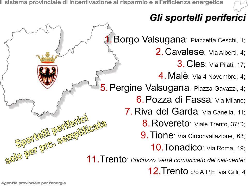1.Borgo Valsugana : Piazzetta Ceschi, 1; 2.Cavalese : Via Alberti, 4; 3.Cles : Via Pilati, 17; 4.Malè : Via 4 Novembre, 4; 5.Pergine Valsugana : Piazza Gavazzi, 4; 6.Pozza di Fassa : Via Milano; 7.Riva del Garda : Via Canella, 11; 8.Rovereto : Viale Trento, 37/D; 9.Tione : Via Circonvallazione, 63; 10.Tonadico : Via Roma, 19; 11.Trento : lindirizzo verrà comunicato dal call-center 12.Trento c/o A.P.E.