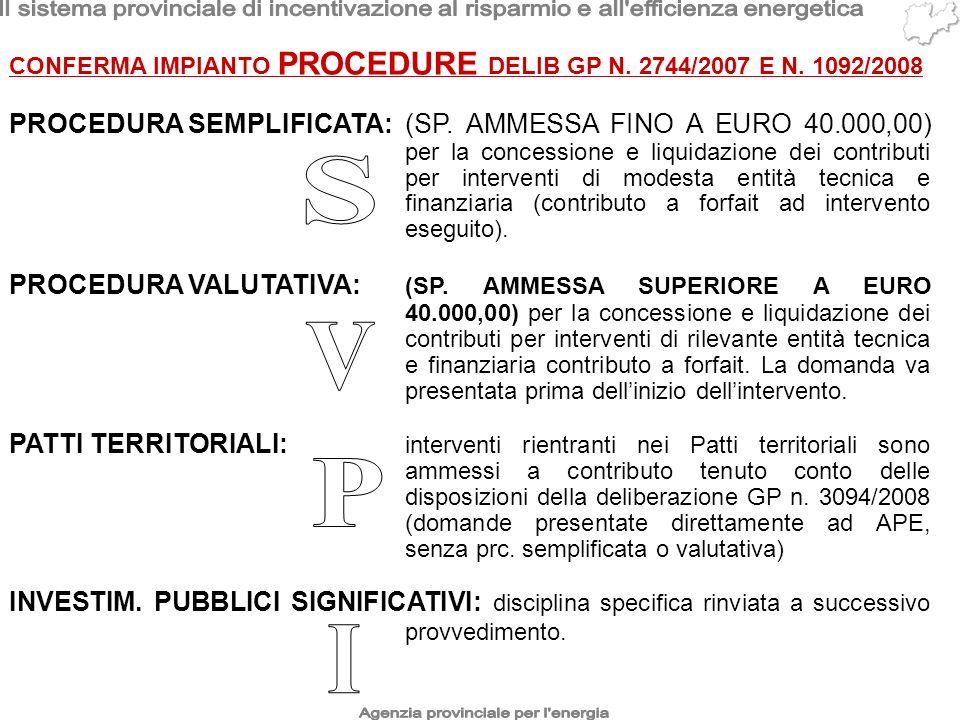 CONFERMA IMPIANTO PROCEDURE DELIB GP N. 2744/2007 E N. 1092/2008 PROCEDURA SEMPLIFICATA:(SP. AMMESSA FINO A EURO 40.000,00) per la concessione e liqui