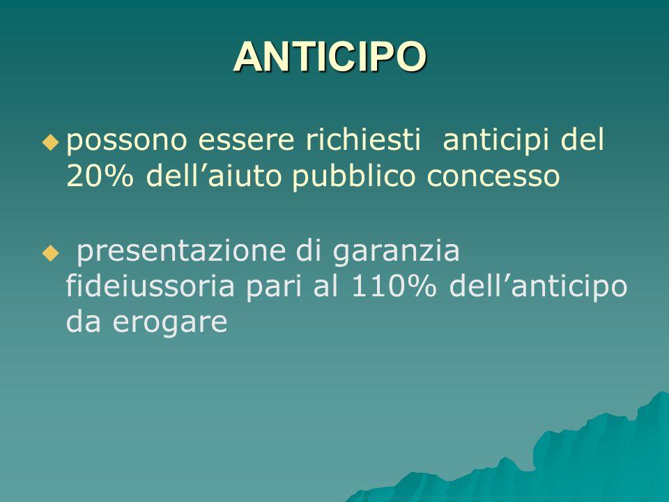 ANTICIPO possono essere richiesti anticipi del 20% dellaiuto pubblico concesso presentazione di garanzia fideiussoria pari al 110% dellanticipo da erogare