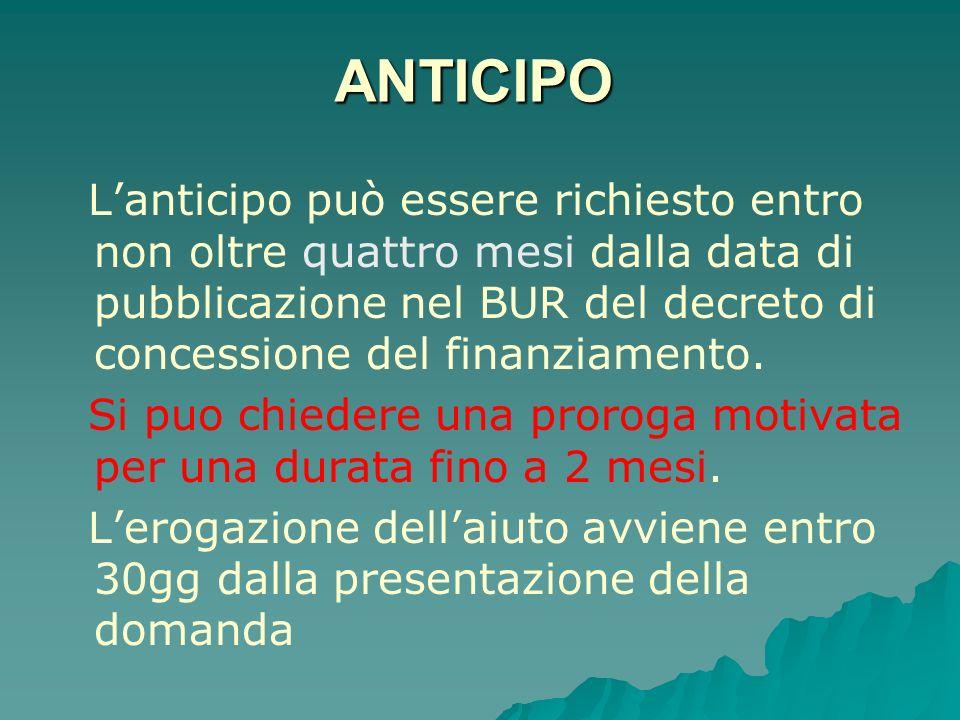 ANTICIPO Lanticipo può essere richiesto entro non oltre quattro mesi dalla data di pubblicazione nel BUR del decreto di concessione del finanziamento.