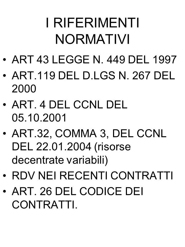 I RIFERIMENTI NORMATIVI ART 43 LEGGE N. 449 DEL 1997 ART.119 DEL D.LGS N. 267 DEL 2000 ART. 4 DEL CCNL DEL 05.10.2001 ART.32, COMMA 3, DEL CCNL DEL 22