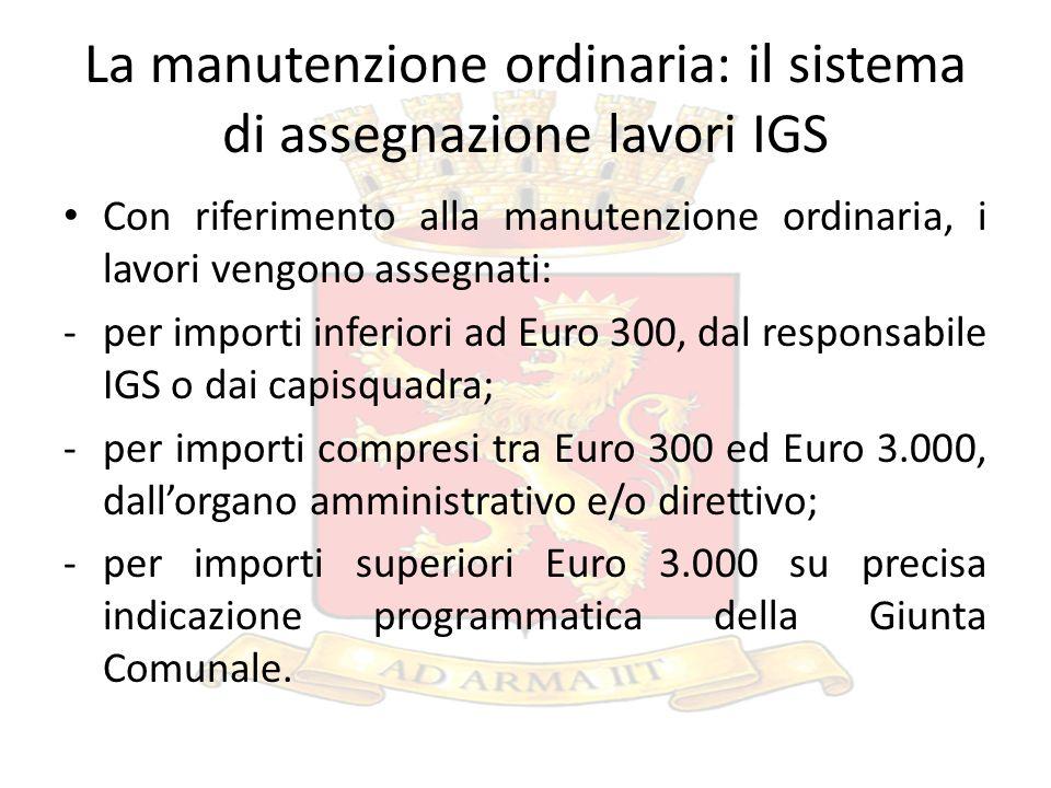 La manutenzione ordinaria: il sistema di assegnazione lavori IGS Con riferimento alla manutenzione ordinaria, i lavori vengono assegnati: -per importi