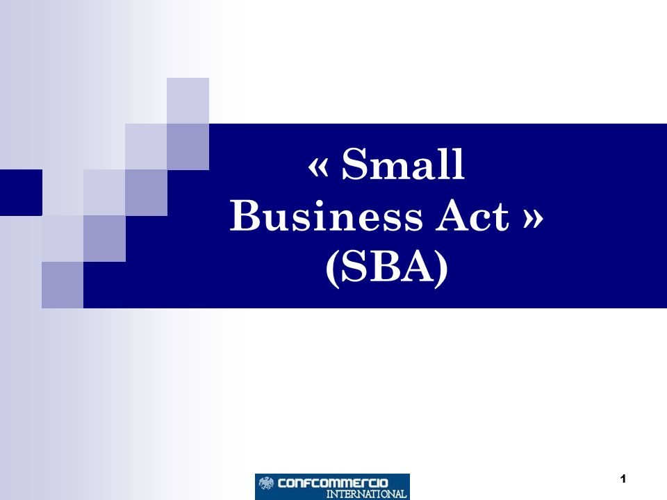 1 « Small Business Act » (SBA)