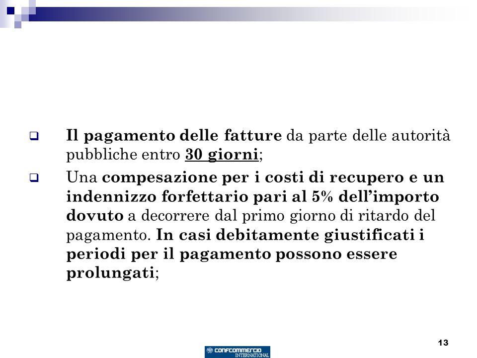 13 Il pagamento delle fatture da parte delle autorità pubbliche entro 30 giorni ; Una compesazione per i costi di recupero e un indennizzo forfettario