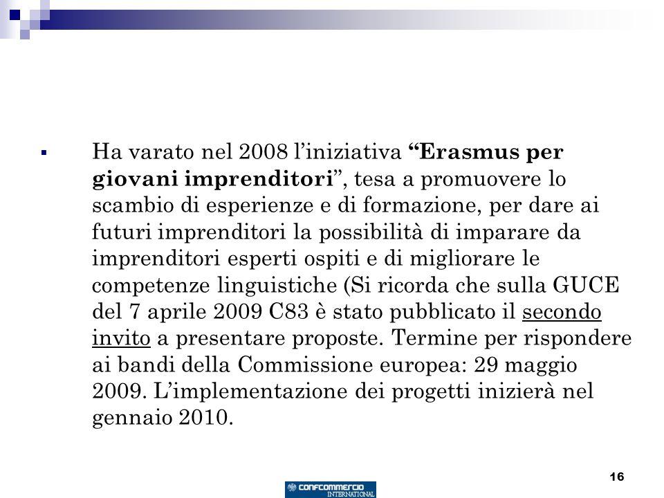 16 Ha varato nel 2008 liniziativa Erasmus per giovani imprenditori, tesa a promuovere lo scambio di esperienze e di formazione, per dare ai futuri imprenditori la possibilità di imparare da imprenditori esperti ospiti e di migliorare le competenze linguistiche (Si ricorda che sulla GUCE del 7 aprile 2009 C83 è stato pubblicato il secondo invito a presentare proposte.