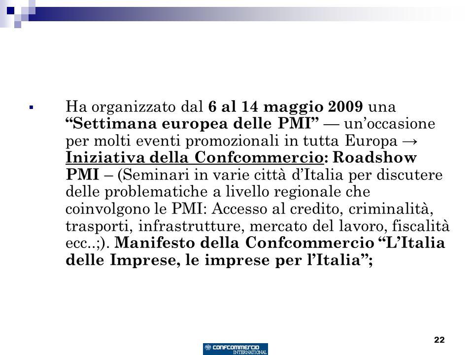22 Ha organizzato dal 6 al 14 maggio 2009 una Settimana europea delle PMI unoccasione per molti eventi promozionali in tutta Europa Iniziativa della C
