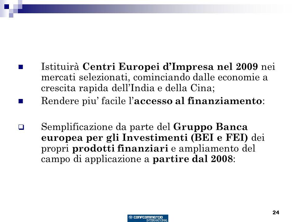 24 Istituirà Centri Europei dImpresa nel 2009 nei mercati selezionati, cominciando dalle economie a crescita rapida dellIndia e della Cina; Rendere pi