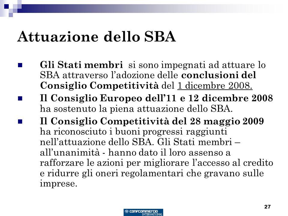 27 Attuazione dello SBA Gli Stati membri si sono impegnati ad attuare lo SBA attraverso ladozione delle conclusioni del Consiglio Competitività del 1 dicembre 2008.