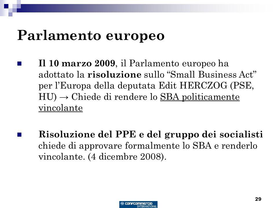 29 Parlamento europeo Il 10 marzo 2009, il Parlamento europeo ha adottato la risoluzione sullo Small Business Act per lEuropa della deputata Edit HERCZOG (PSE, HU) Chiede di rendere lo SBA politicamente vincolante Risoluzione del PPE e del gruppo dei socialisti chiede di approvare formalmente lo SBA e renderlo vincolante.