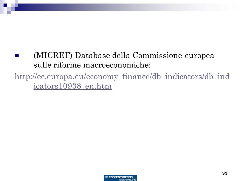 33 (MICREF) Database della Commissione europea sulle riforme macroeconomiche: http://ec.europa.eu/economy_finance/db_indicators/db_ind icators10938_en