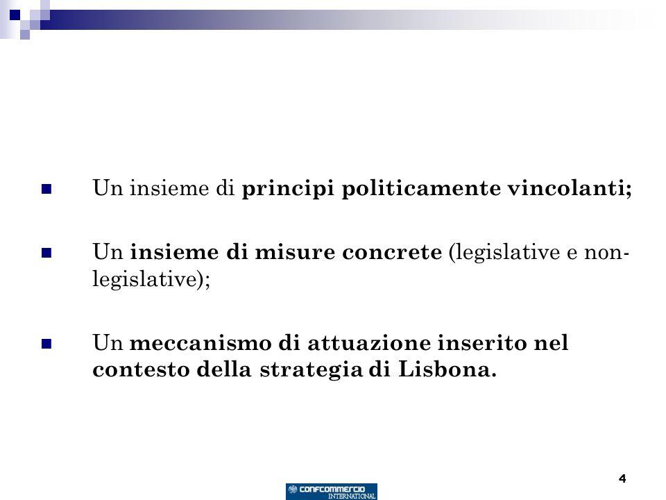4 Un insieme di principi politicamente vincolanti; Un insieme di misure concrete (legislative e non- legislative); Un meccanismo di attuazione inserito nel contesto della strategia di Lisbona.