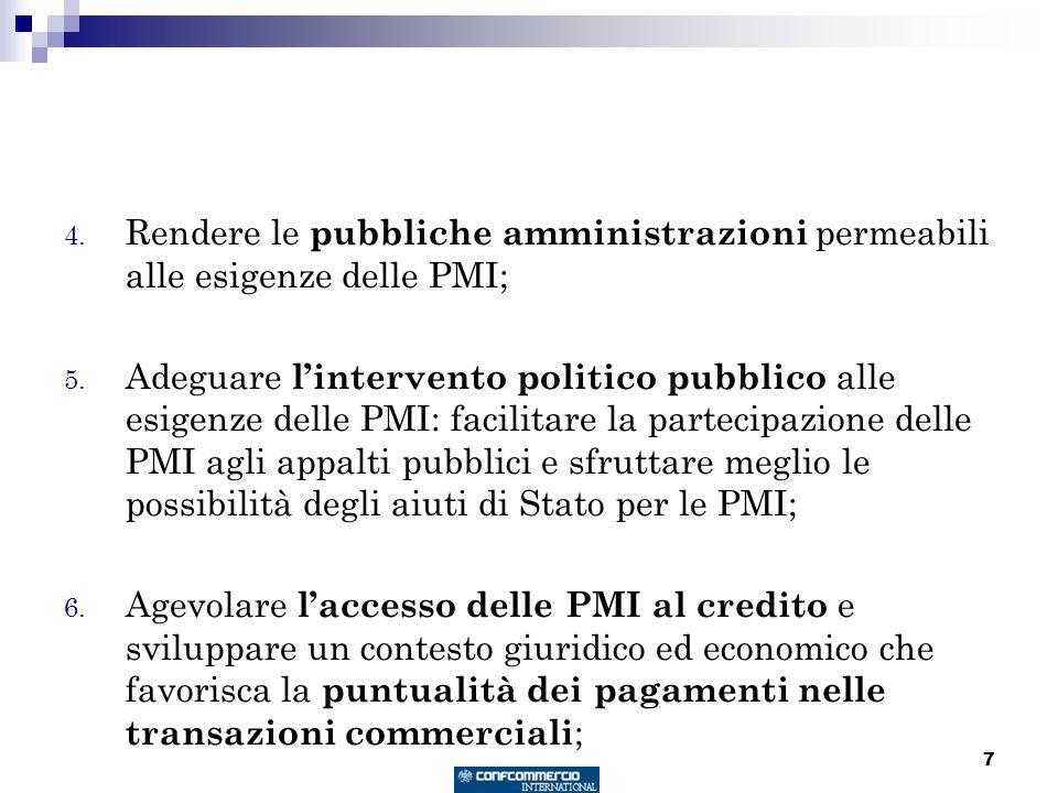7 4. Rendere le pubbliche amministrazioni permeabili alle esigenze delle PMI; 5. Adeguare lintervento politico pubblico alle esigenze delle PMI: facil