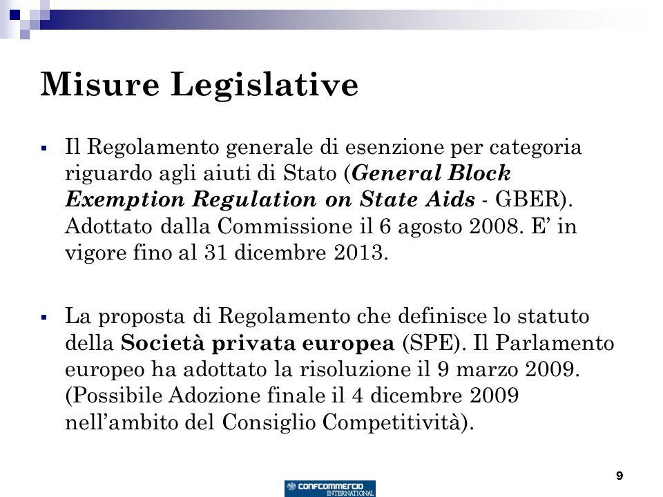 9 Misure Legislative Il Regolamento generale di esenzione per categoria riguardo agli aiuti di Stato ( General Block Exemption Regulation on State Aid