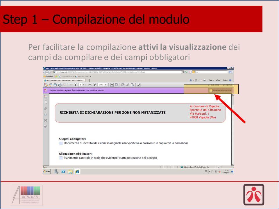 Inizi la compilazione spuntando i documenti che allegherà alla domanda.