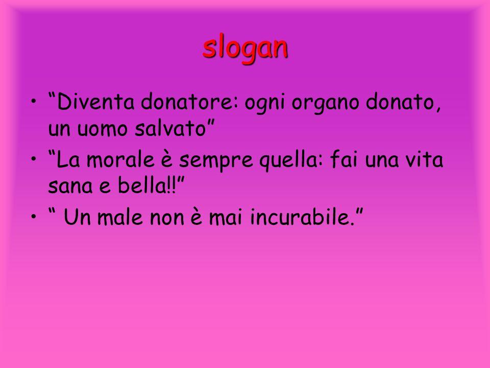 slogan Diventa donatore: ogni organo donato, un uomo salvato La morale è sempre quella: fai una vita sana e bella!! Un male non è mai incurabile.