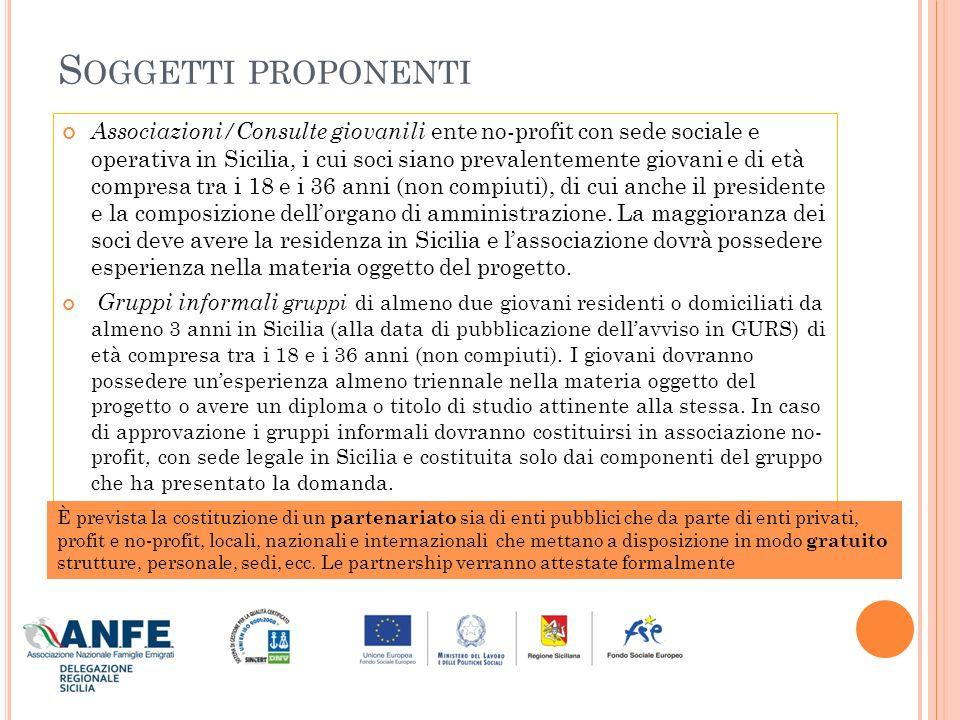 M ODALITÀ DI PRESENTAZIONE La richiesta di finanziamento dovrà essere presentata attraverso i documenti allegati allavviso (scaricabile dal link www.regione.sicilia.it/famiglia) e nello specifico: www.regione.sicilia.it/famiglia Il modulo di domanda di finanziamento (All.