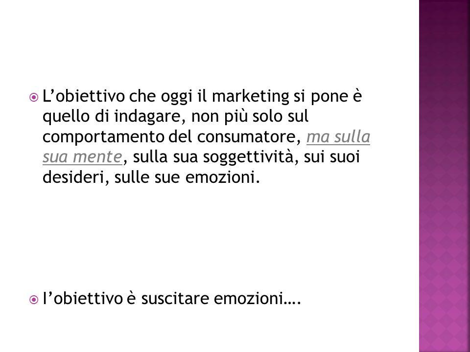 Lobiettivo che oggi il marketing si pone è quello di indagare, non più solo sul comportamento del consumatore, ma sulla sua mente, sulla sua soggettività, sui suoi desideri, sulle sue emozioni.