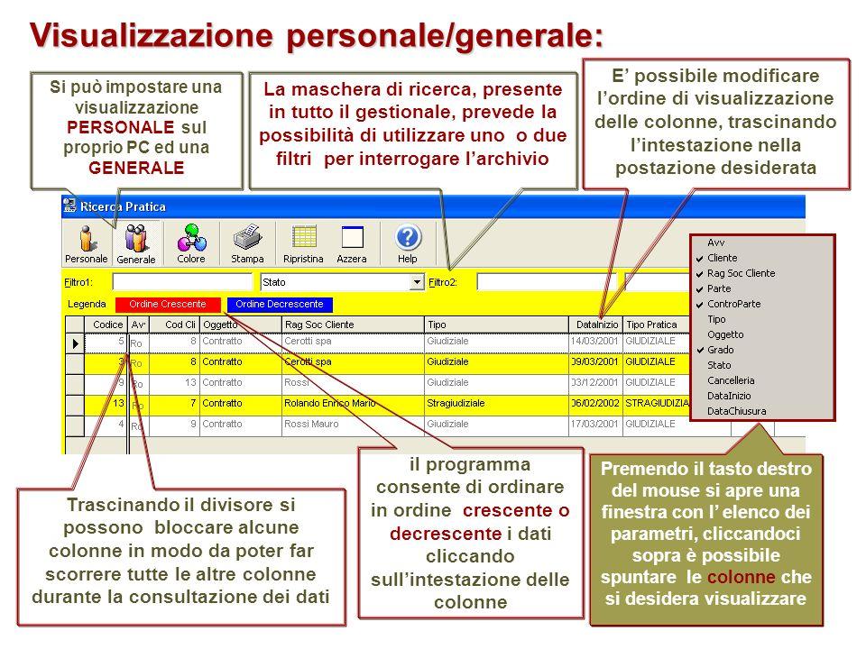 Si può impostare una visualizzazione PERSONALE sul proprio PC ed una GENERALE il programma consente di ordinare in ordine crescente o decrescente i da