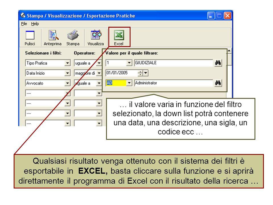 … il valore varia in funzione del filtro selezionato, la down list potrà contenere una data, una descrizione, una sigla, un codice ecc … Qualsiasi risultato venga ottenuto con il sistema dei filtri è esportabile in EXCEL, basta cliccare sulla funzione e si aprirà direttamente il programma di Excel con il risultato della ricerca …