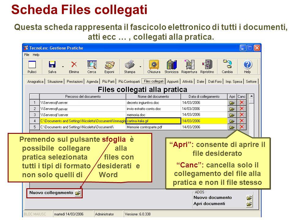 Scheda Files collegati Questa scheda rappresenta il fascicolo elettronico di tutti i documenti, atti ecc …, collegati alla pratica. Premendo sul pulsa