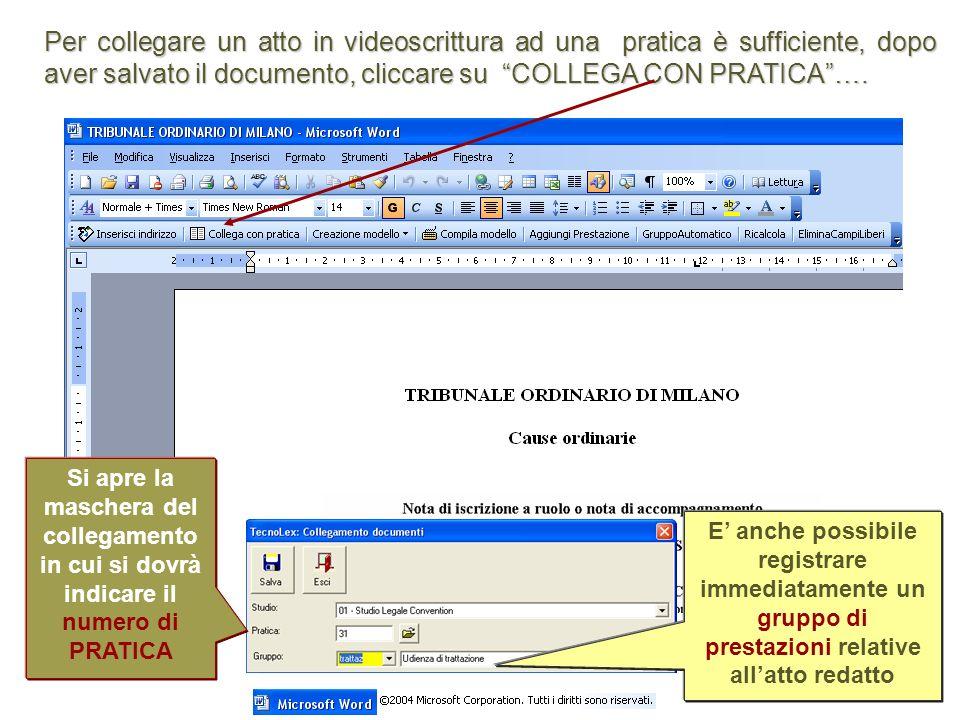 Per collegare un atto in videoscrittura ad una pratica è sufficiente, dopo aver salvato il documento, cliccare su COLLEGA CON PRATICA….