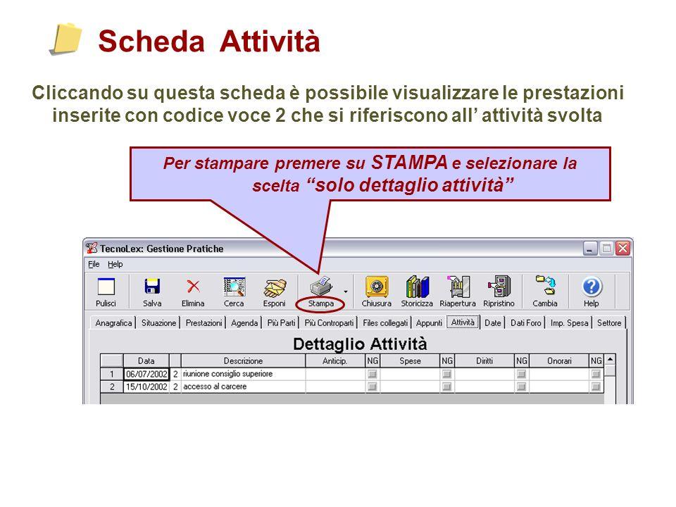 Scheda Attività Cliccando su questa scheda è possibile visualizzare le prestazioni inserite con codice voce 2 che si riferiscono all attività svolta Per stampare premere su STAMPA e selezionare la scelta solo dettaglio attività