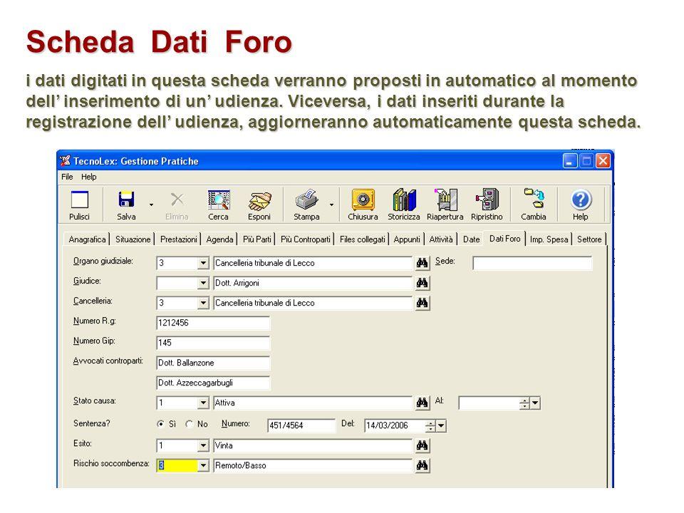Scheda Dati Foro i dati digitati in questa scheda verranno proposti in automatico al momento dell inserimento di un udienza. Viceversa, i dati inserit