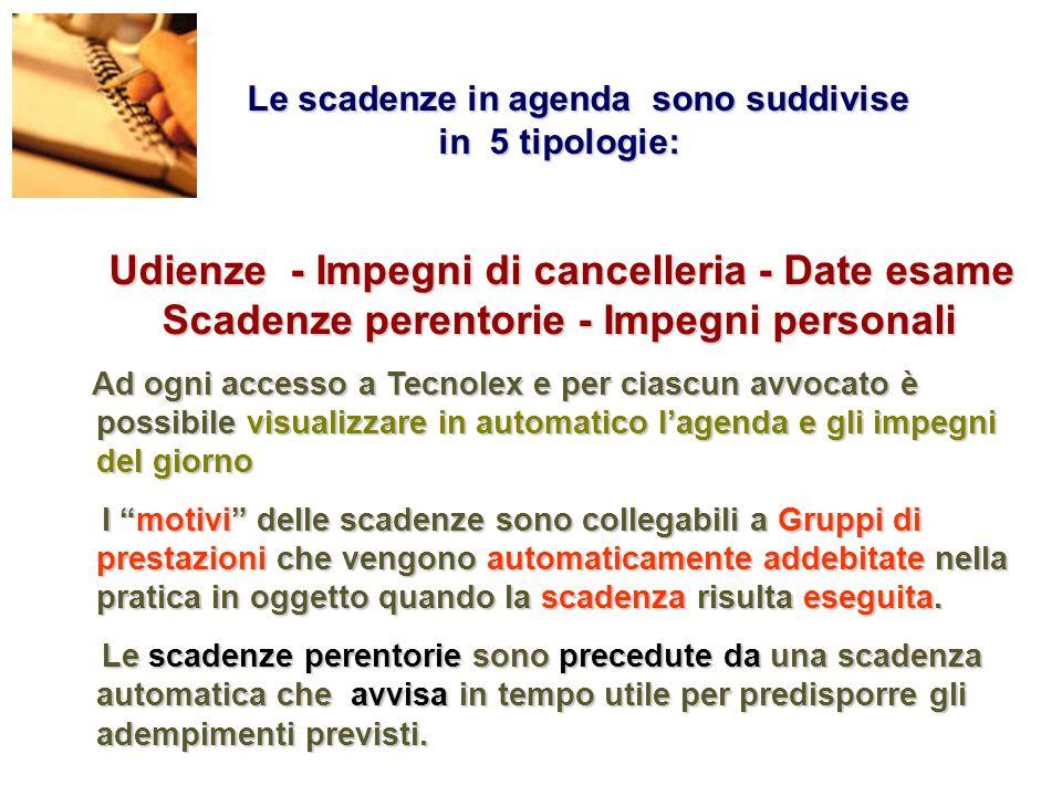 Le scadenze in agenda sono suddivise in 5 tipologie: Le scadenze in agenda sono suddivise in 5 tipologie: Udienze - Impegni di cancelleria - Date esam