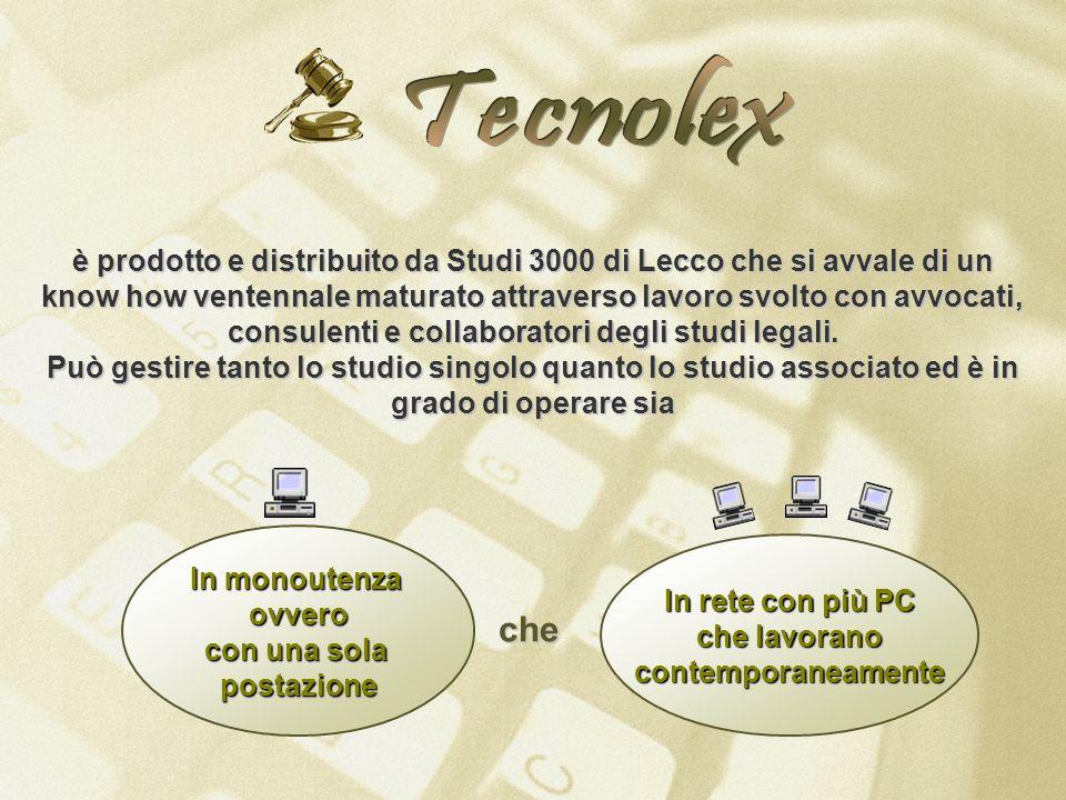 In monoutenza ovvero con una sola postazione In rete con più PC che lavorano contemporaneamente che è prodotto e distribuito da Studi 3000 di Lecco ch