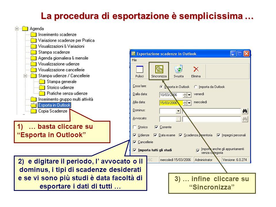 3) … infine cliccare su Sincronizza 2) e digitare il periodo, l avvocato o il dominus, i tipi di scadenze desiderati e se vi sono più studi è data facoltà di esportare i dati di tutti … La procedura di esportazione è semplicissima … 1) … basta cliccare su Esporta in Outlook