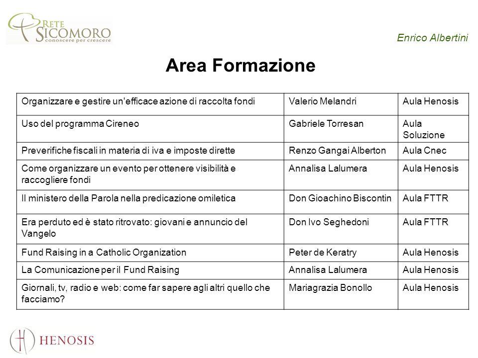 Enrico Albertini Area Formazione Organizzare e gestire un'efficace azione di raccolta fondi Valerio MelandriAula Henosis Uso del programma CireneoGabr