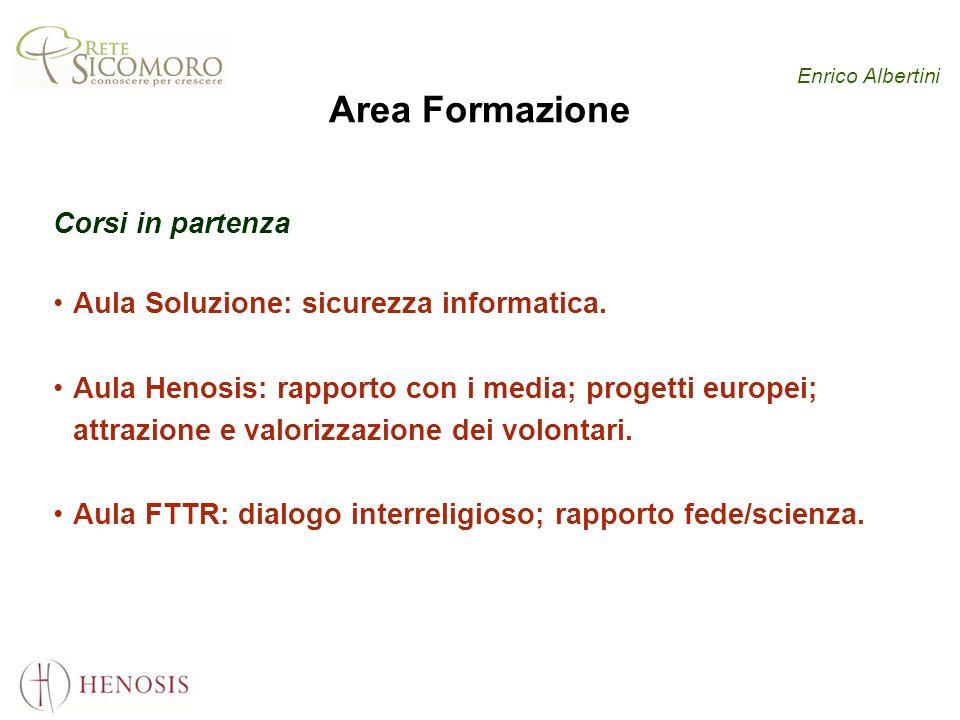 Enrico Albertini Area Formazione Corsi in partenza Aula Soluzione: sicurezza informatica. Aula Henosis: rapporto con i media; progetti europei; attraz