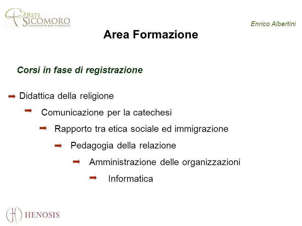 Enrico Albertini Area Formazione Corsi in fase di registrazione Didattica della religione Comunicazione per la catechesi Rapporto tra etica sociale ed