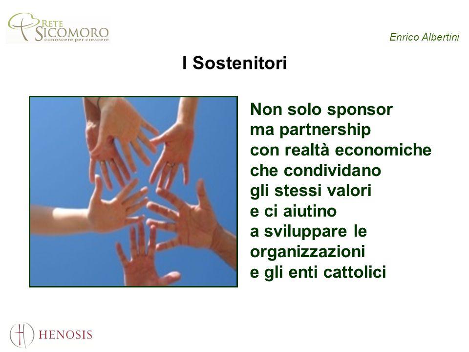 Enrico Albertini I Sostenitori Non solo sponsor ma partnership con realtà economiche che condividano gli stessi valori e ci aiutino a sviluppare le organizzazioni e gli enti cattolici