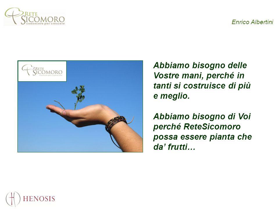 Enrico Albertini Abbiamo bisogno delle Vostre mani, perché in tanti si costruisce di più e meglio. Abbiamo bisogno di Voi perché ReteSicomoro possa es