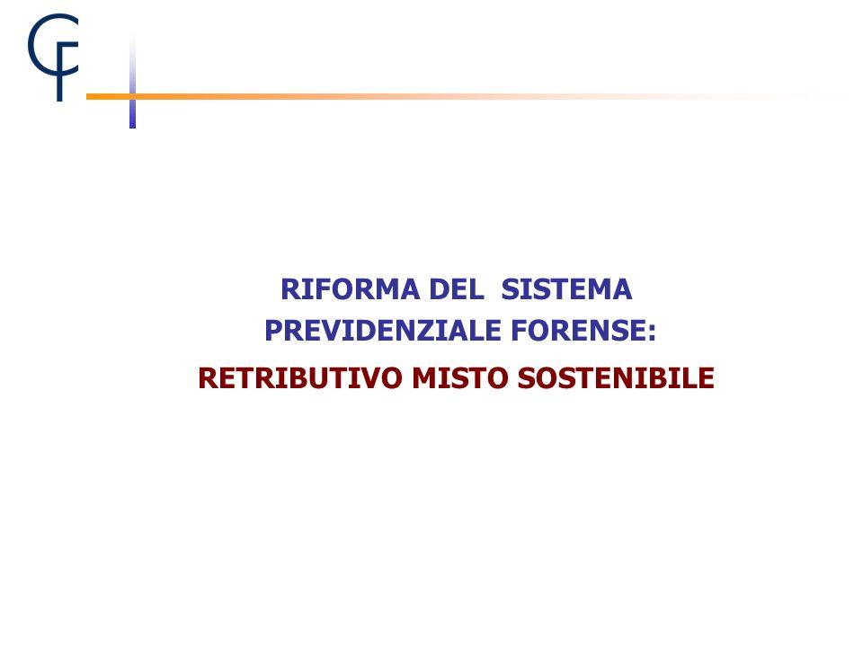 RIFORMA DEL SISTEMA PREVIDENZIALE FORENSE: RETRIBUTIVO MISTO SOSTENIBILE