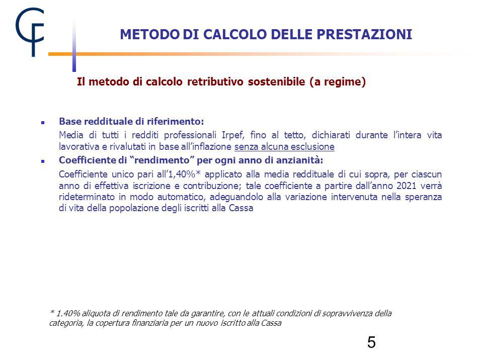 5 METODO DI CALCOLO DELLE PRESTAZIONI Il metodo di calcolo retributivo sostenibile (a regime) * 1.40% aliquota di rendimento tale da garantire, con le