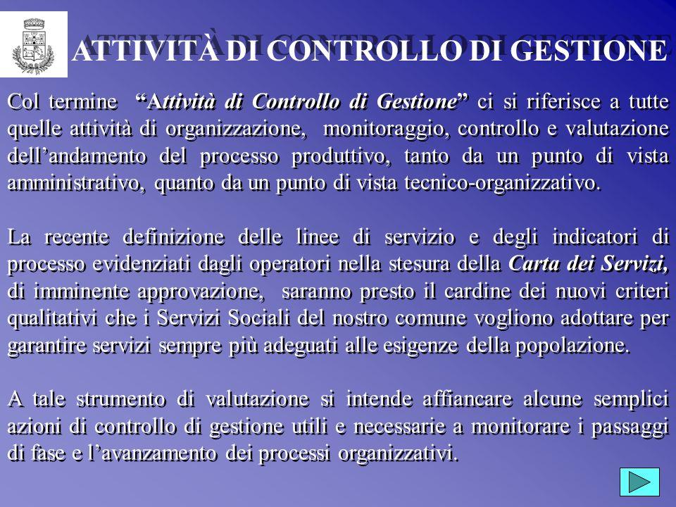 Istituzione per i Servizi Sociali del Comune di Cabras Settembre 2001 ATTIVITÀ DI CONTROLLO DI GESTIONE Istituzione per i Servizi Sociali del Comune d