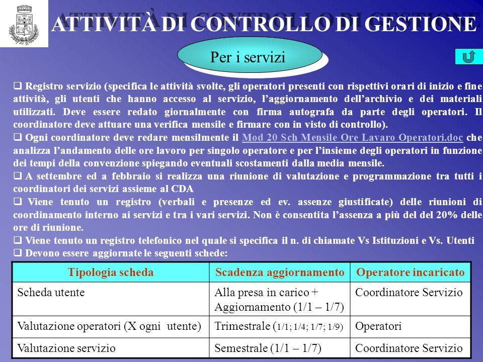 Per i servizi Per i Coordinatori Per gli Operatori Per le cooperative Per lAmministrazione Per i Flussi Finanziari