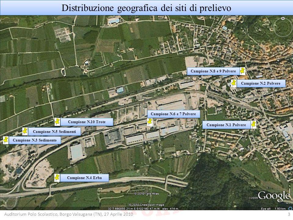 Distribuzione geografica dei siti di prelievo 3 Campione N.1 Polvere Campione N.2 Polvere Campione N.3 Sedimento Campione N.4 Erba Campione N.5 Sedime