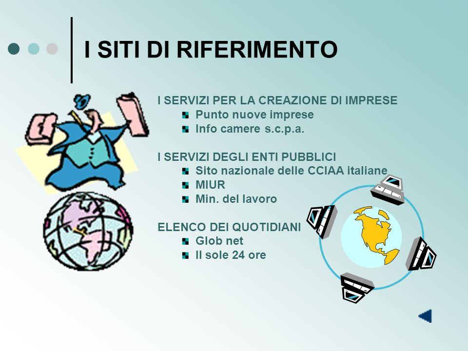 I SITI DI RIFERIMENTO I SERVIZI PER LA CREAZIONE DI IMPRESE Punto nuove imprese Info camere s.c.p.a.